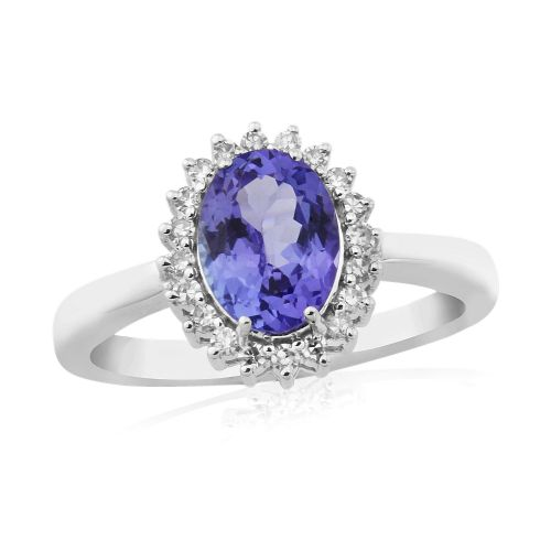 Tanzanite And Diamond Oval Cluster Ring